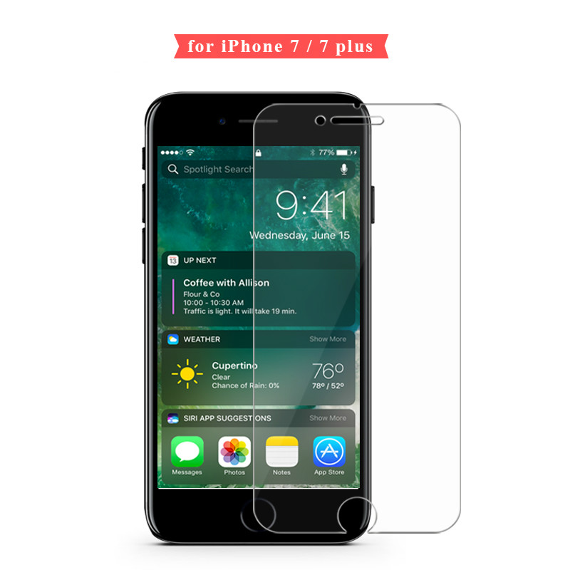 HD Clear transparent tempered glass for iphone7plus 9H 2.5D 0.26MM screen protector for iphoneX 5 5s 6 6s 6plus 8 8plus glass