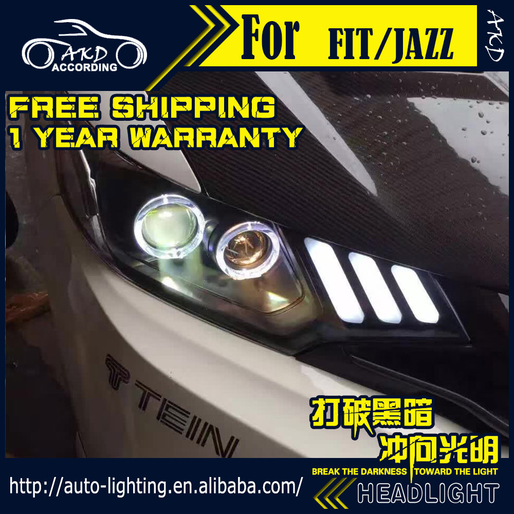 AKD Car Styling Head Lamp for Honda Fit Headlights 2014 New Jazz LED Headlight DRL H7 D2H Hid Option Angel Eye Bi Xenon Beam автоинструменты new design autocom cdp 2014 2 3in1 led ds150
