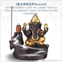 Backflow Incense Burner golden Ganesha statue Ganesha figurines incense stick burner Incense Holder purple clay free shipping