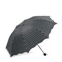 New Sun Umbrella Folding Protection UV Men and Women Simple stylish vertical stripes White Black