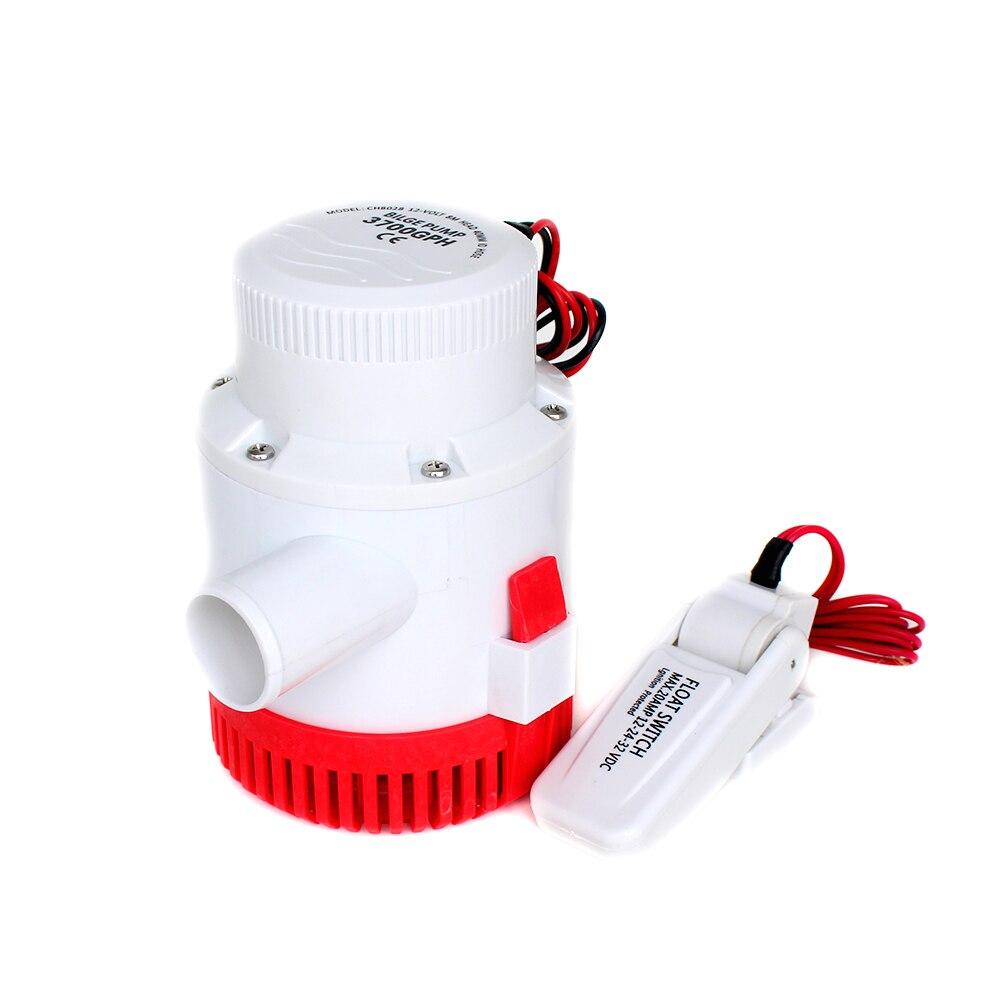 Pompe à eau de cale de bateau électrique grand débit 3500GPH 12 v 24 v dc avec interrupteur à flotteur ensemble submersible 12 24 volts 3500 gph