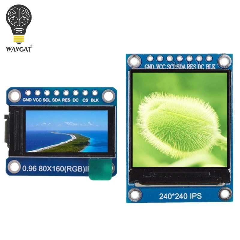 WAVGAT TFT Display 0.96 / 1.3 inch IPS 7P SPI HD 65K Full Color LCD Module ST7735 / ST7789 Drive IC 80*160 240*240 (Not OLED)