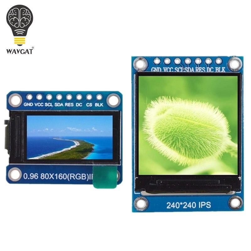 Wavgat tft display 0.96/1.3 polegada ips 7 p spi hd 65 k módulo lcd a cores completas st7735/st7789 drive ic 80*160 240*240 (não oled)
