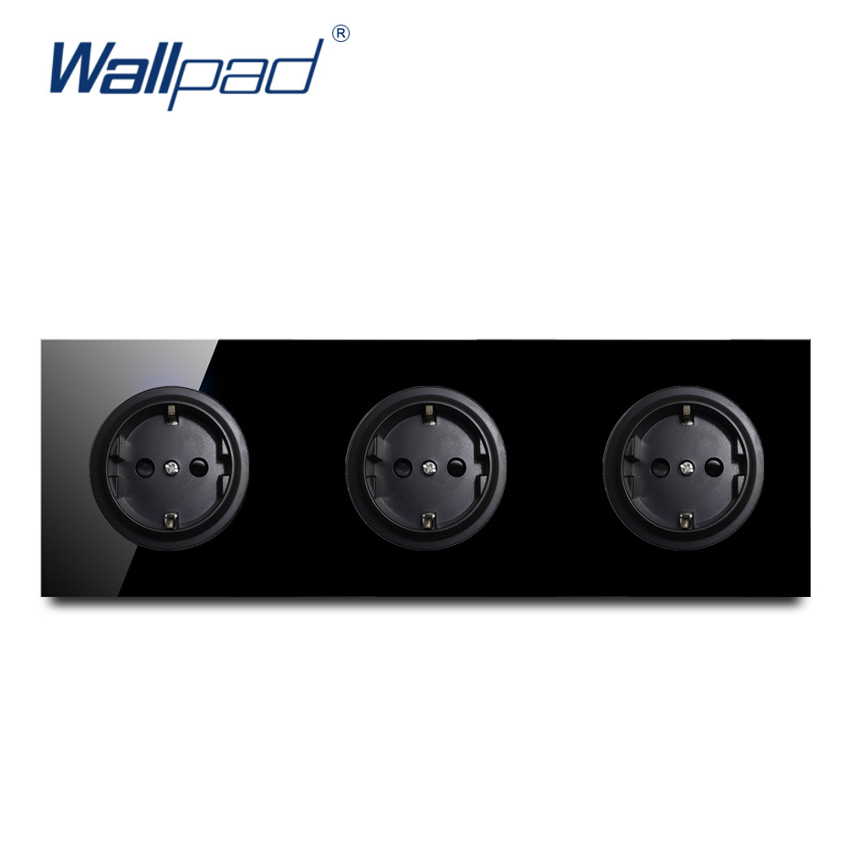 Wallpad Crystal Tempered Pure Black Glass Panel 16A 3 EU German Standard Wall Power Socket Outlet Grounded Wallpad Crystal Tempered Pure Black Glass Panel 16A 3 EU German Standard Wall Power Socket Outlet Grounded