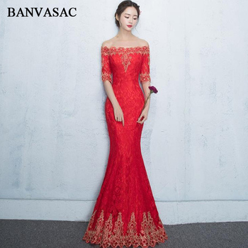 BANVASAC Boat Neck Gold Lace Appliques 2018 Mermaid Long Evening Dresses Party Half Sleeve Backless Prom Gowns