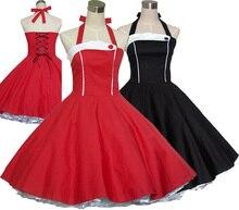 Women Summer Vintage 50s 60s Retro Rockabilly Dress Pin up 100% Cotton Dresses Red Black Robe Vestidos de verano