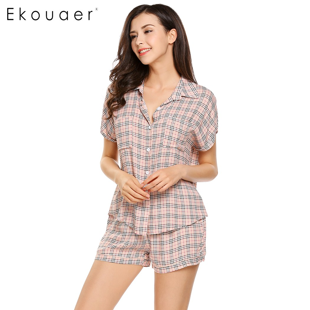 Short Sleeve Button Down Pajamas for Women