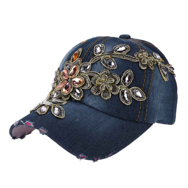 Baseball Cap Women Flower Crystal Embroidery Hip Hop Cap Rhinestone Snapback  Hap Adjustable Cap Girls Jeans 0711292c5ed1