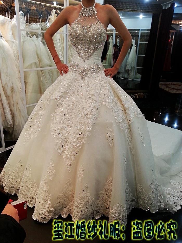 Luxurious princess halter crystal Wedding Dresses large train lace ...