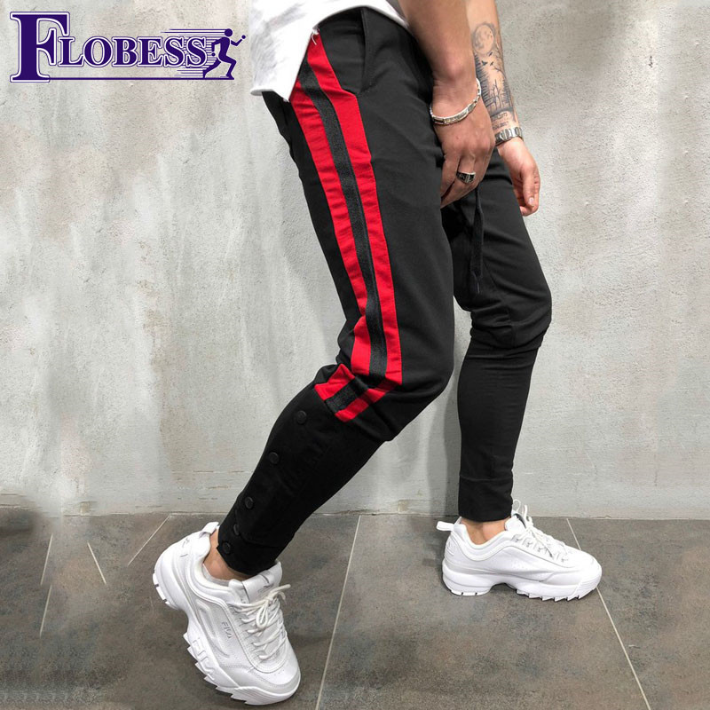 Big Size Men Jogger Sports Pants New 2018 Male Leisure Elastic Fitness Skinny Long Trousers Mens Striped Pencil Pants Sweatpants cut and sew skinny sweatpants