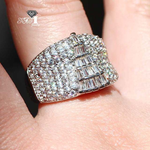 YaYI Jewelry Fashion  Princess Cut Huge 4.9  CT White Zircon Silver Color Engagement Rings wedding Rings Party Rings