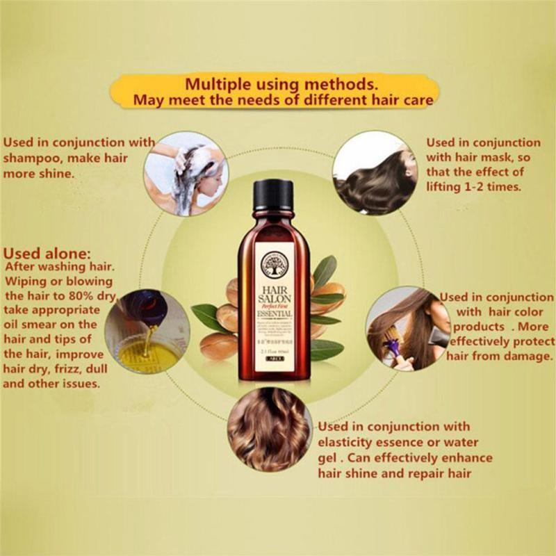 Natural Hair Essential Oil Deep Nourish Hairlines Repair Damaged Hair For Split Ends Long Hair Treatment Organic Argan Oil Serum 3