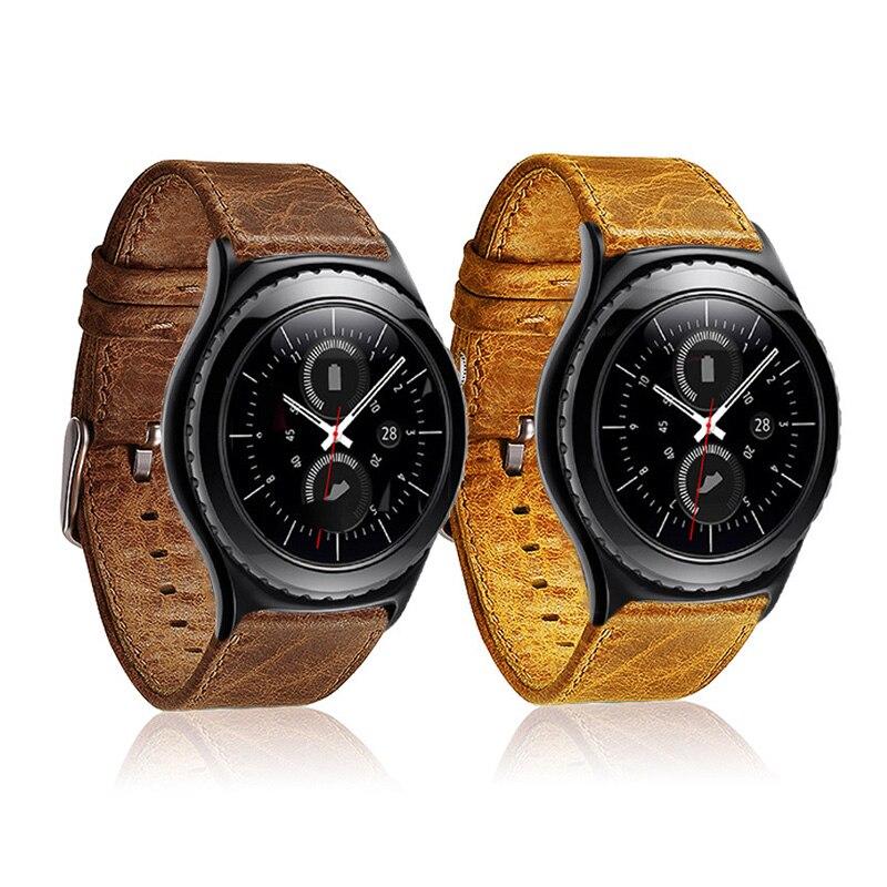 FOHUAS Fou cheval en cuir Bracelet pour Samsung vitesse s3 poignet Montre Smart Watch Band Bracelet Lien Bracelet Liens Bracelet pour iWatch