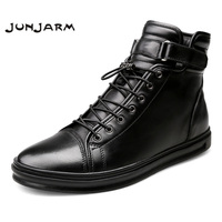 JUNJARM Handmade Leather Men Snow Boots Winter Lace Up Buckle Furry Men Ankle Boots Keep Warm