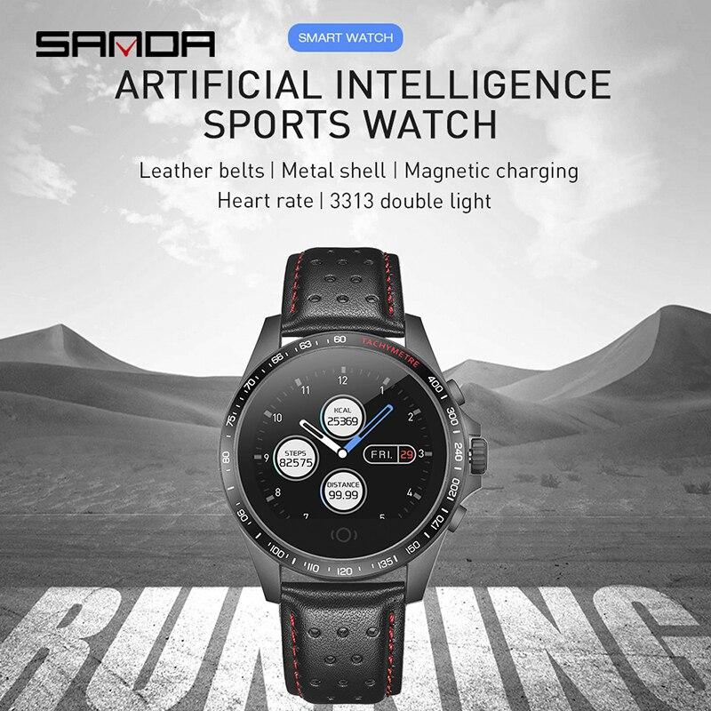 SANDA Fashion Digital Bracelet Smart Watch Men Leather Strap Heart Rate Monitor Blood Pressure Fitness Tracker Waterproof Watch