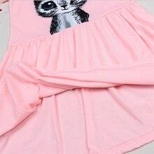 Summer Girls Cat Printed Grey Dress