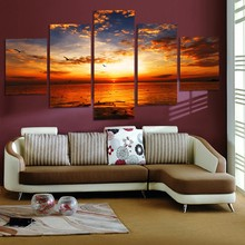 Wall Picture home decor Landscape Sunset over the sea sky Canvas painting art print 5 panel canvas Pictures