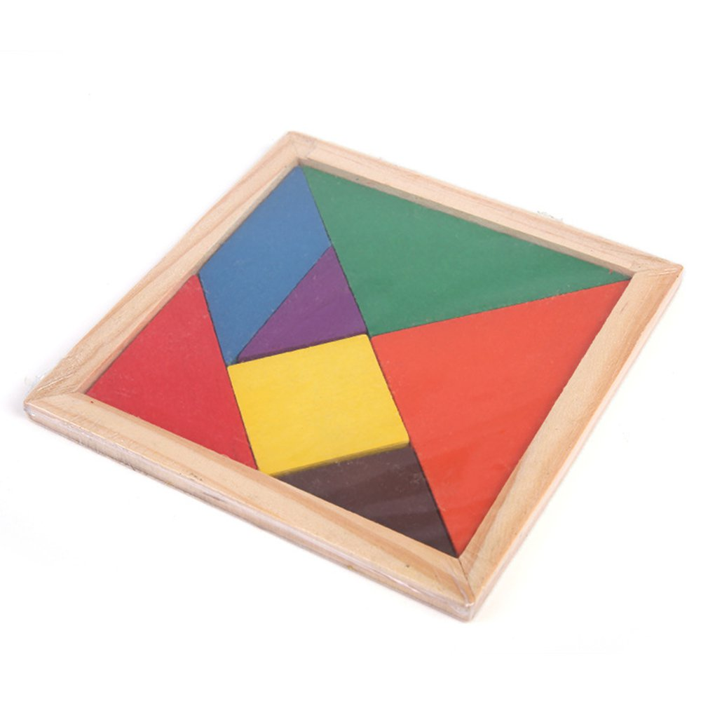 HOT! Wooden Tangram Jigsaw Puzzle Geometric Shape Colorful Square IQ Game Brain Teaser Intelligent Educational Toys For Kids