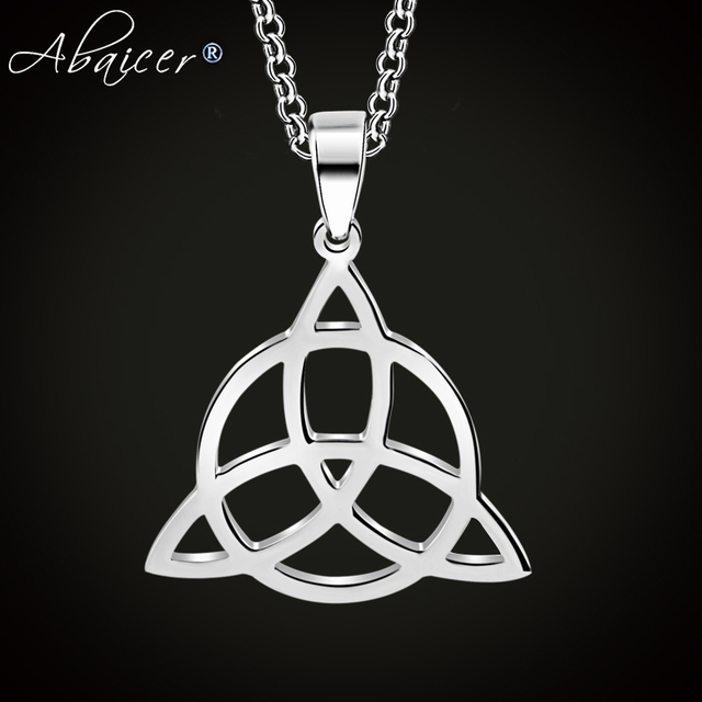 Abaicer - WICCA Triangle Viking Runes Jewelry Celtic Knots Necklaces & Pendants Triquetra Silver Color Stainless Steel Men