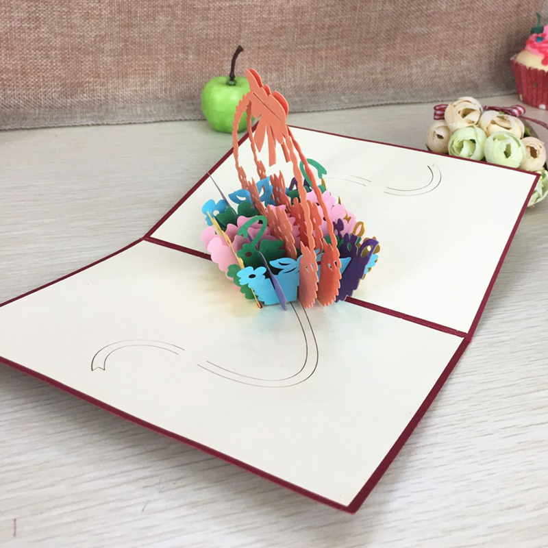 1pcs Flower Baskets Laser Cut Kirigami 3D Pop UP Greeting & Gift DIY Cards Handmade Creative Thanksgiving Day Birthday Gifts (3)