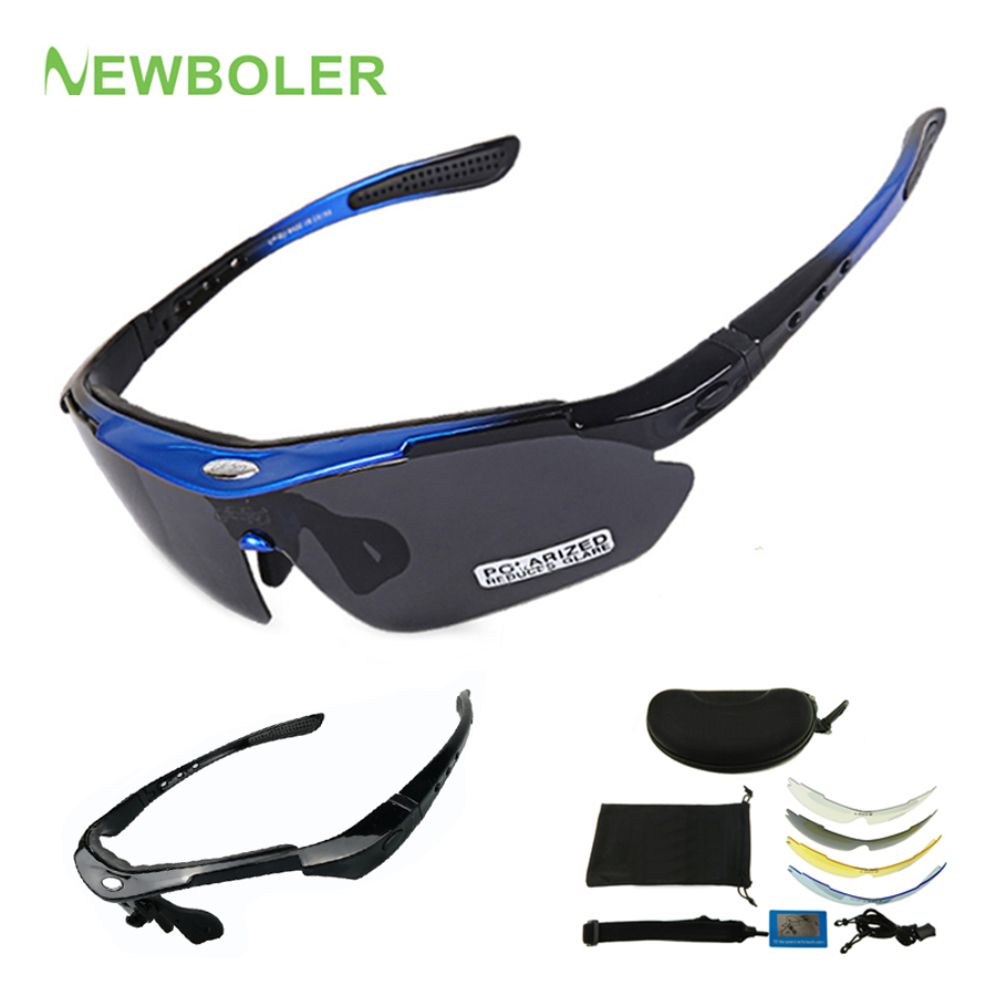 Outdoor Sports Cycling Bike Riding 5 Lenses Polarizing Sun Glasses and Gloves