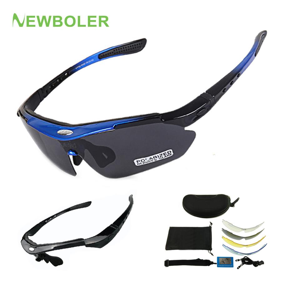 NEWBOLER 2 Frame Polarized Cycling Sun Glasses Outdoor Sports Bicycle Glasses Men Women Bike Sunglasses Goggles Eyewear 5 Lens