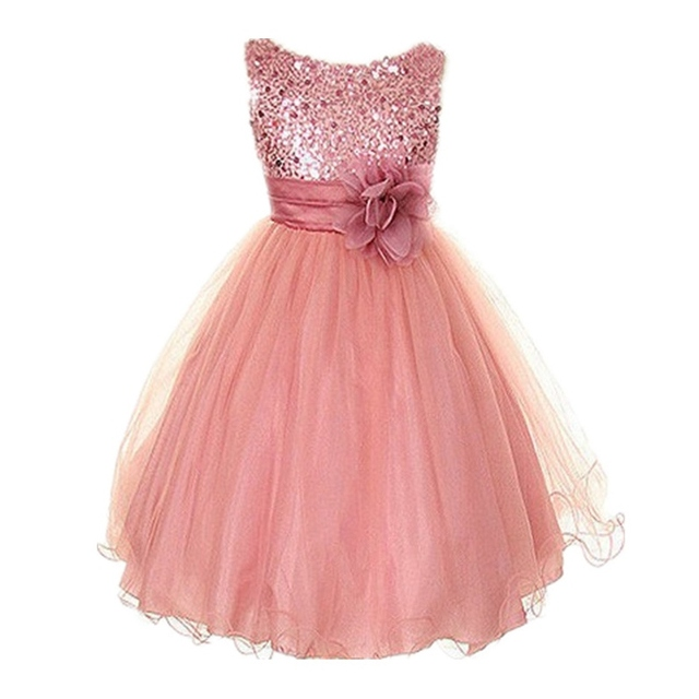 Vogue Toddler Baby Princess Dress Sleeveless Sequin Flower Tulle