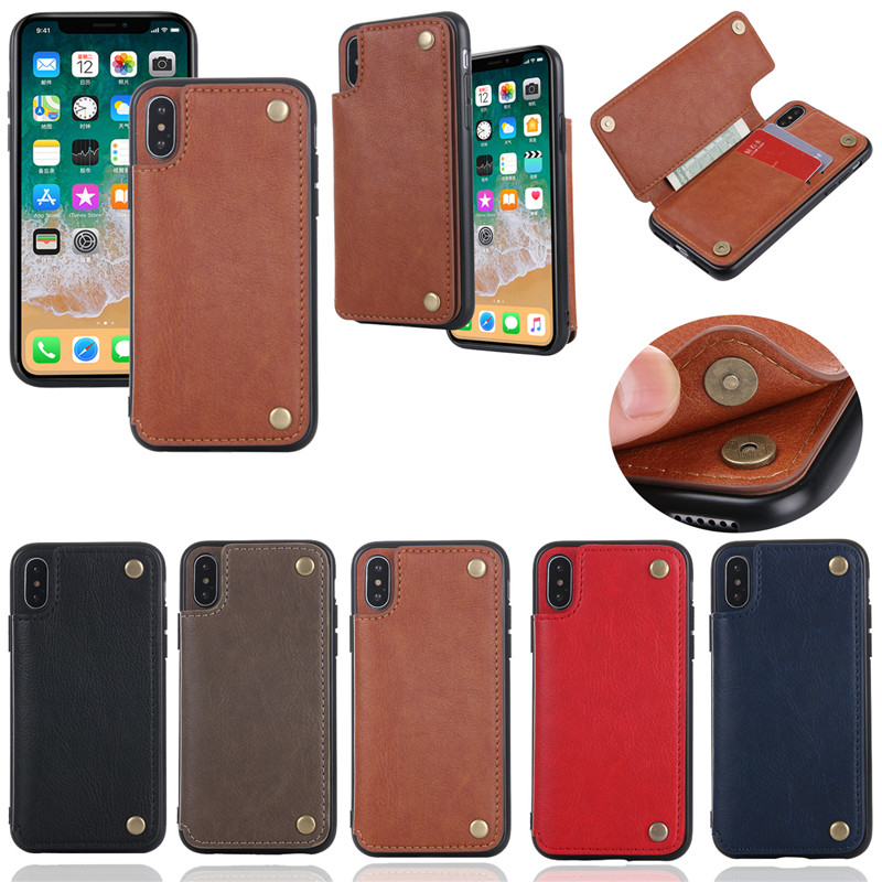 Flip Case for iPhone 6 6s Plus 7 8 Plus X Case Leather Coque Card Slot Holster Stand Man Cover for Samsung S8 Plus S9 Plus Case
