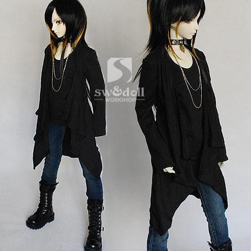 Free Shipping,1/3 bjd doll clothes black casual knitted shawl cloak