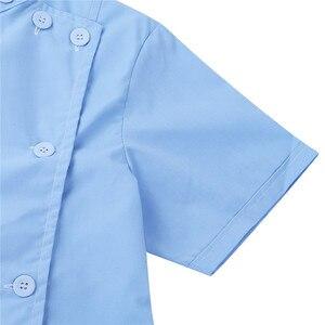 Image 5 - Womens Dress Korte Mouwen Opstaande Kraag Schuine Knop Front Jas Vrouwelijke Femme Uniform Jurk