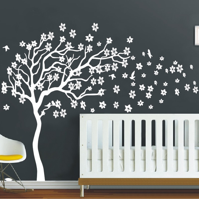 huge white tree flowers 3d vinyl wall decal nursery tree and birds