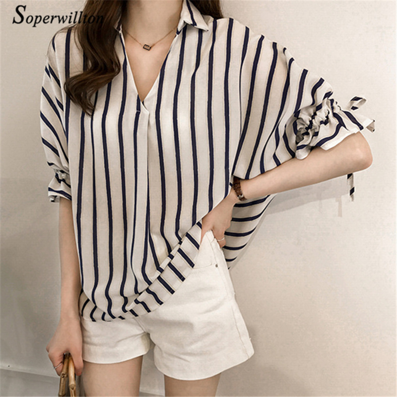 Summer Casual Chiffon Blouses Wome Striped Shirts feminina Blouse 2018 Office work Midi Sleeve Blusas Female M-4XL Blue Pink #E6