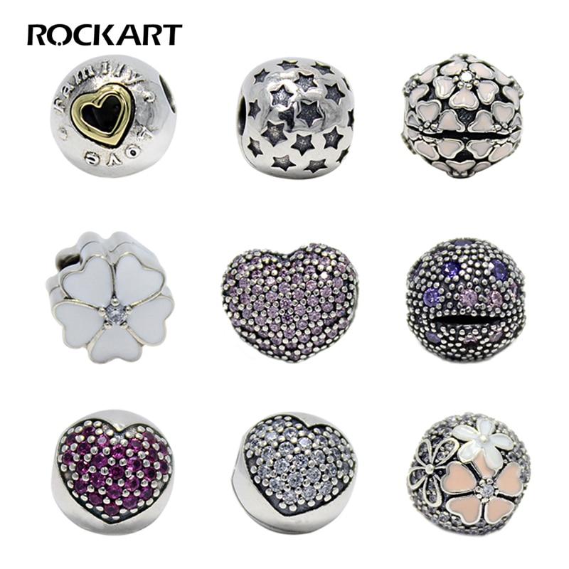 ROCKART 925 Sterling Argent Vente CHAUDE Clips Perles Collection Fit Européenne Marque Bracelets DIY Bijoux De Mode Cadeau Pour Les Femmes S925