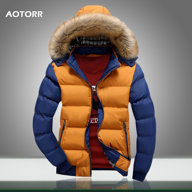 Men Winter Coat Outerwear Hoodies Down-Jacket Warm Thick Casual New-Fashion 4XL Fur 9-Color