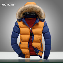 2019 Men Winter Coat Warm Fleece Down Jacket 9 Color New Fashion Fur Hood Hat Men Outerwear Casual Mens Coats Thick Hoodies 4XL(China)