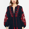Floral Vintage Tassel Ethnic Embroidery Dresses Bow Tie O-neck Puff Sleeve Women Autumn Long Dresses Maxi robe longue Q-CCWM8138