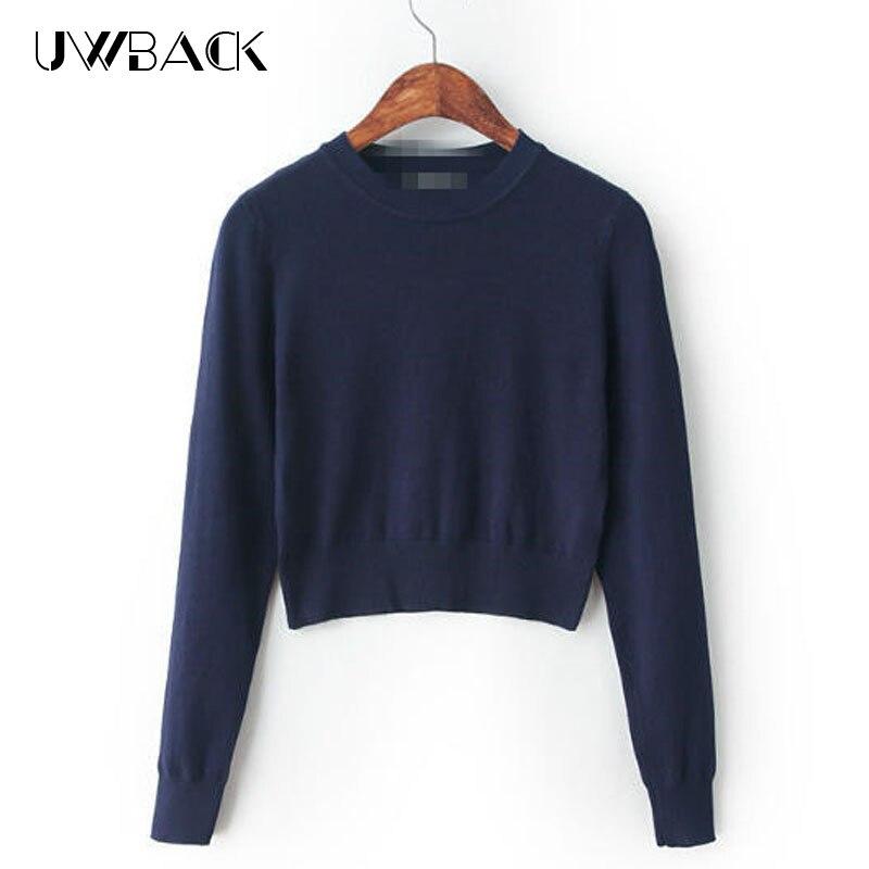 Uwback 2017 new sweater women short american apparel for Black sweater white shirt