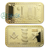 Wholesale 50/100pcs Mint Art Gift Masonic Freemasonry Gold Clad Bullion Bar Souvenir Collectible Gift