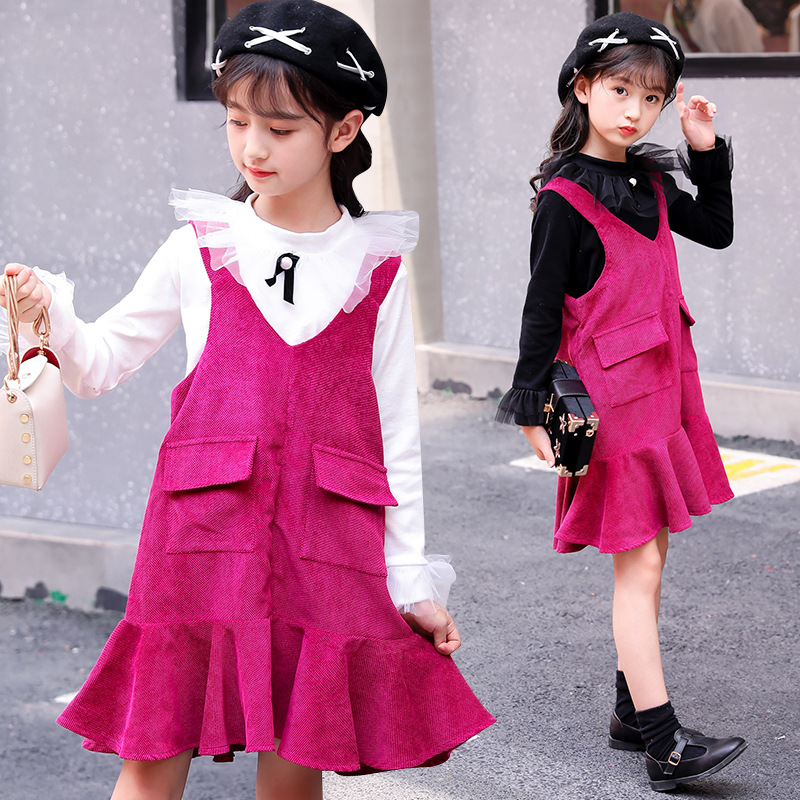2018 New Autumn Girls Clothing Sets Kids Clothes Long Sleeve Outfits Children T Shirts + Sleeveless Dress 2 Pcs Clothing Sets 12 qshoic a4 multi function business manager clip to high grade leather with calculator folder file pu leather document folder