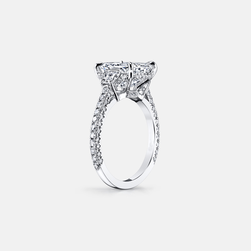 QYI 925 sterling Silver Luxury Women Engagement Jewelry 3 ct Emeraled Cut Zircon Female Wedding Finger Flower Rings in Rings from Jewelry Accessories