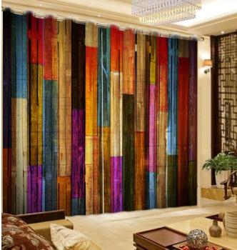 Modern Retro colors Blackout 3D Curtain For Living room Bedroom Printed wood Fashion Window Curtains Decoration