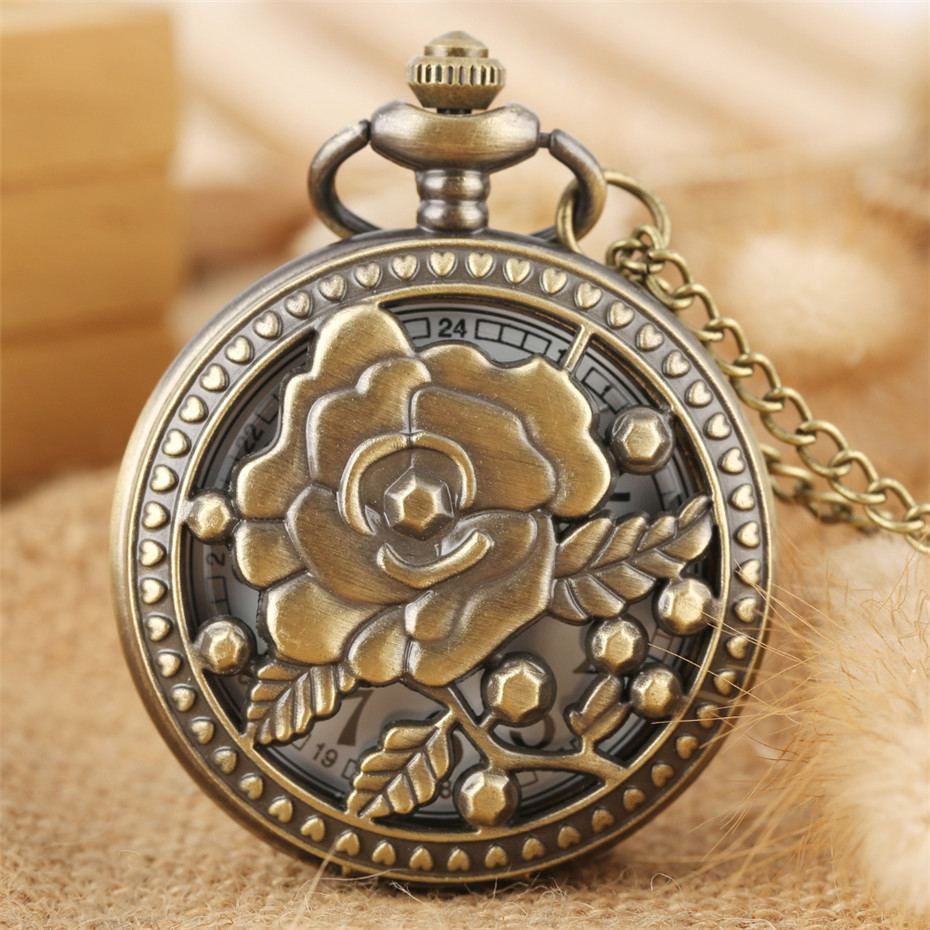 Vintage Charming Hollow Rose Flowers Design Quartz Pocket Watch Bronze Lady Necklace Watch Old Fashioned Pendant Clock