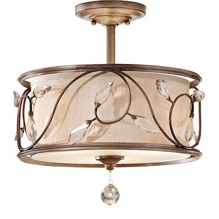Europe Crystal Ceiling Light With White Fabric And Rectangular Iron Lamp Shades Light Fixtures 110v 220v