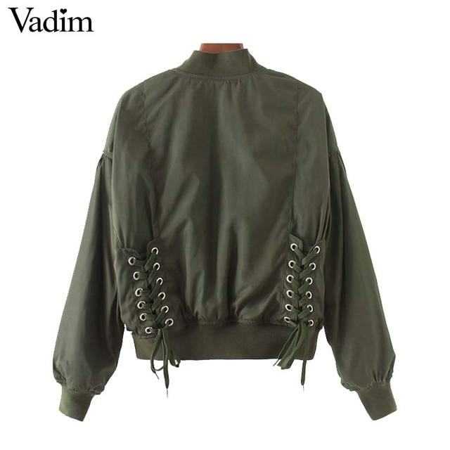 e109a176a US $25.02 |Vadim women casual lace up solid Bomber jacket long sleeve  flight jacket casual coat 3 colors ladies punk outwear tops CT1490-in Basic  ...