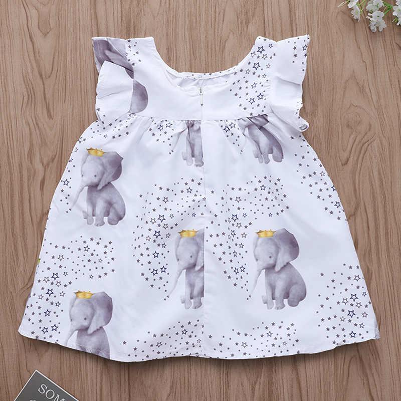 Kawaii/платье для малышей белое платье с короткими рукавами и принтом слона для девочек 2 лет Одежда для маленьких девочек-подростков