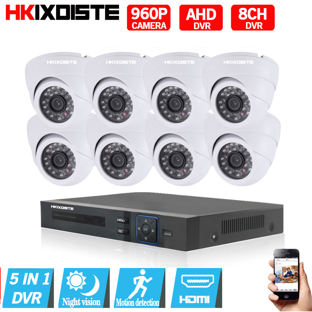 Home 8CH CCTV Security System 8 channel HDMI 1080P AHD DVR HD 960P 1.3MP Indoor dome Camera kit Video Surveillance System
