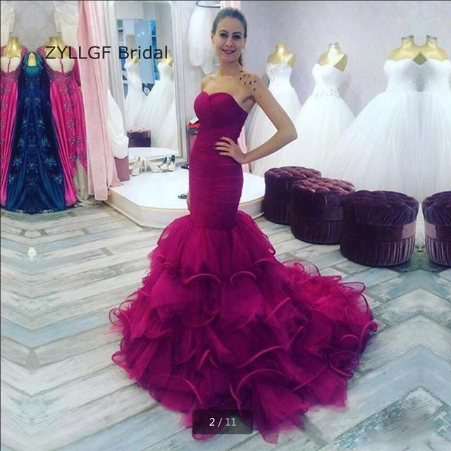 ZYLLGF Bridal Mermaid Strapless Modest Evening Dresses Tiered Bottom ...