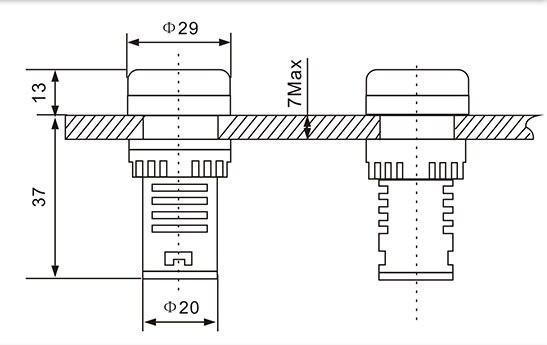22MM Digital LED AC Voltmeter Ampermeter Ammeter 60 500V 0 100A