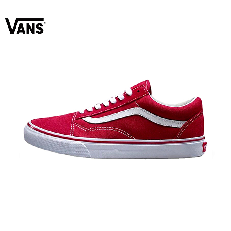 Original Vans Old Skool Red Colour Low-Top Men   Women s Skateboarding  Shoes Sport Shoes ea7d6aa25