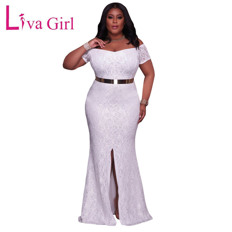 41eef4f29ba LIVA GIRL Lace Plus Size Maxi Dress For Elegant Women 2019 Autumn Off  Shoulder Split Dresses Big Size Pink Rode Vestido De Renda-in Dresses from  Women s ...